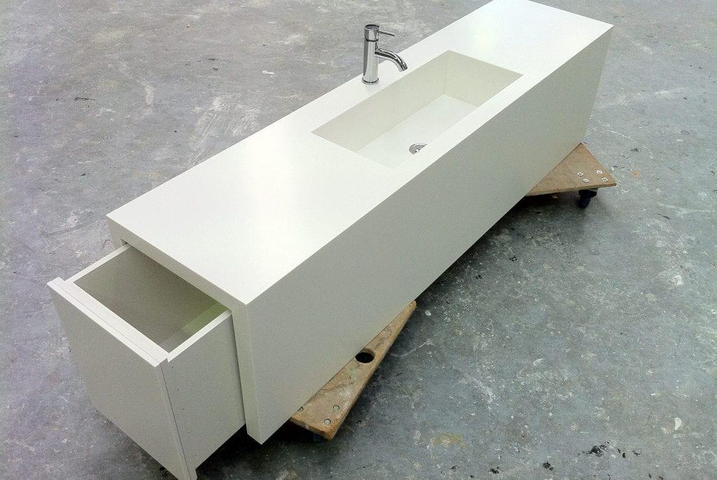 Custom vanity with built in basin & drawers